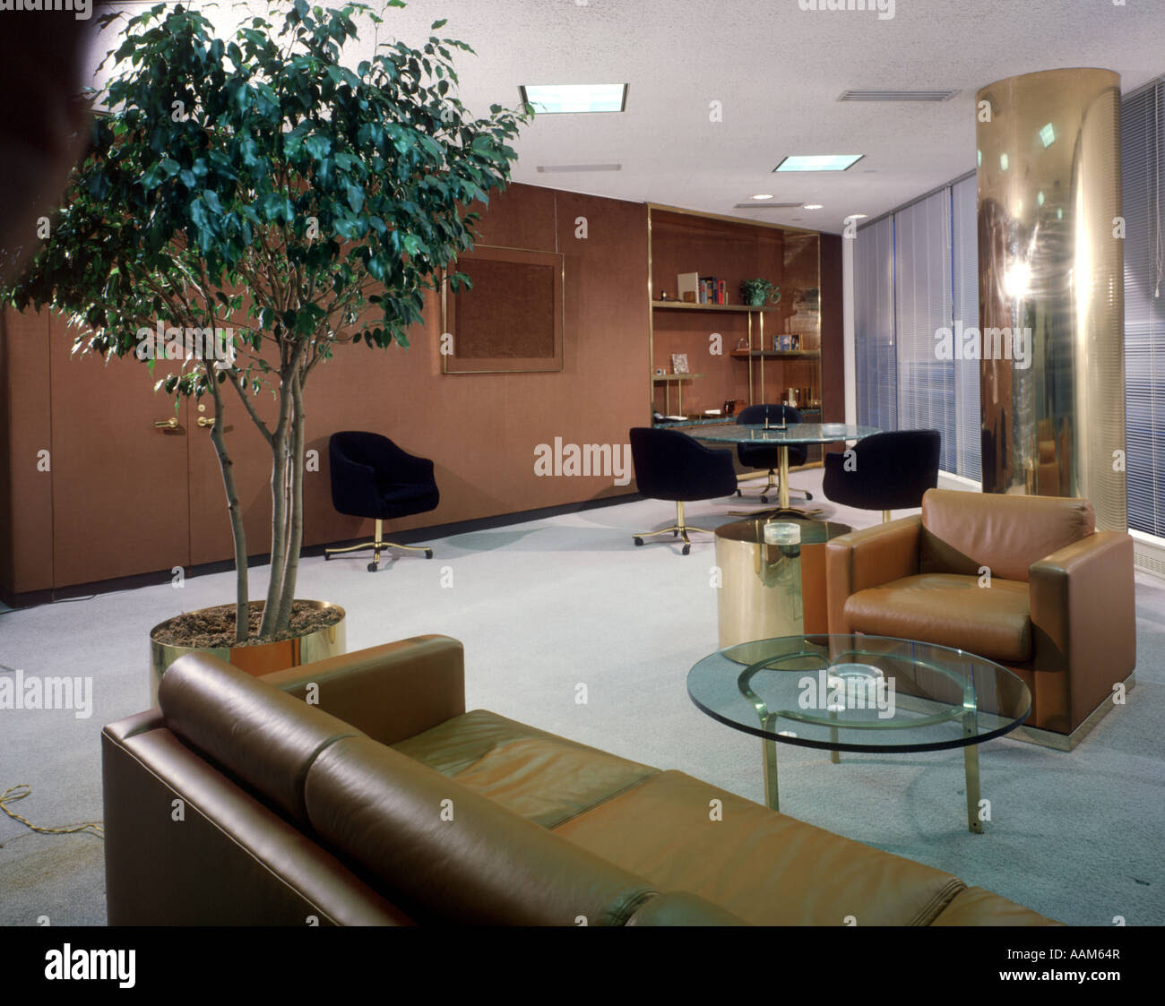1970 197Os 1980 1980s OFFICE INTERIOR LEATHER COUCH SOFA ...