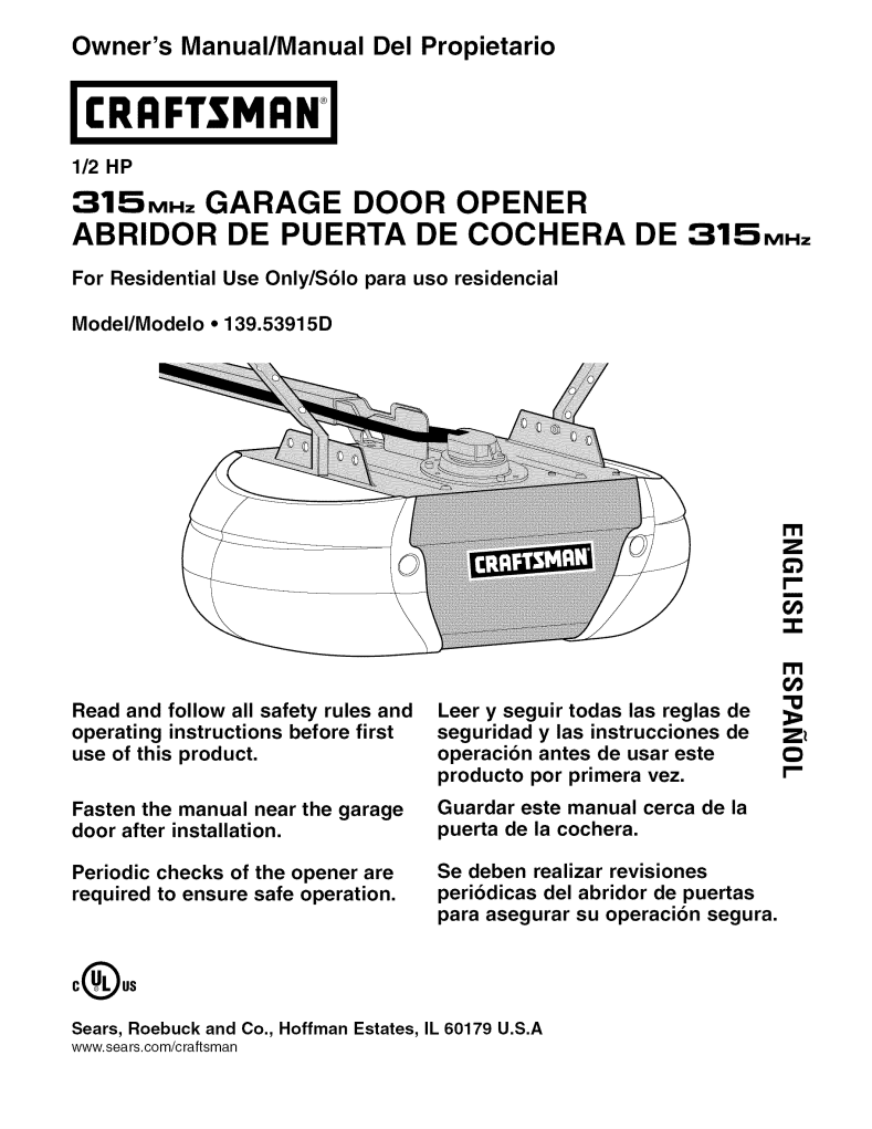 User Manual For Sears Garage Door Opener 139 53915d A User Manual Servicing Manual Settings And Specifications Ofsears Garage Door Opener 139 53915d User Manuals And Advice For Your Devices User Manual Info