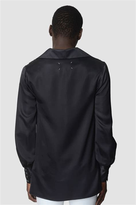 maison margiela black silk shirt