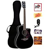 Yamaha FGX720SCA Solid Top Cutaway Acoustic-Electric Guitar Bundle with Gig Bag, Tuner, Instructional DVD, Strings...