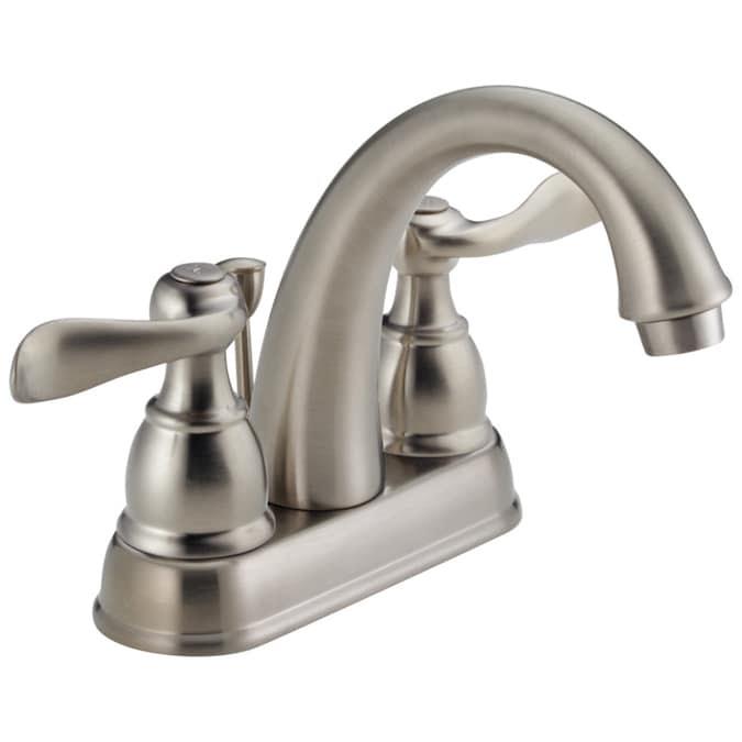 Delta Windemere Brushed Nickel 2 Handle 4 In Centerset Watersense Bathroom Sink Faucet With Drain In The Bathroom Sink Faucets Department At Lowes Com