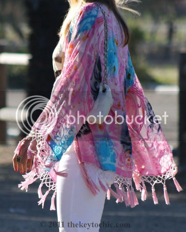velvet fringe kimono jacket, H&M white flared jeans, southern California street style