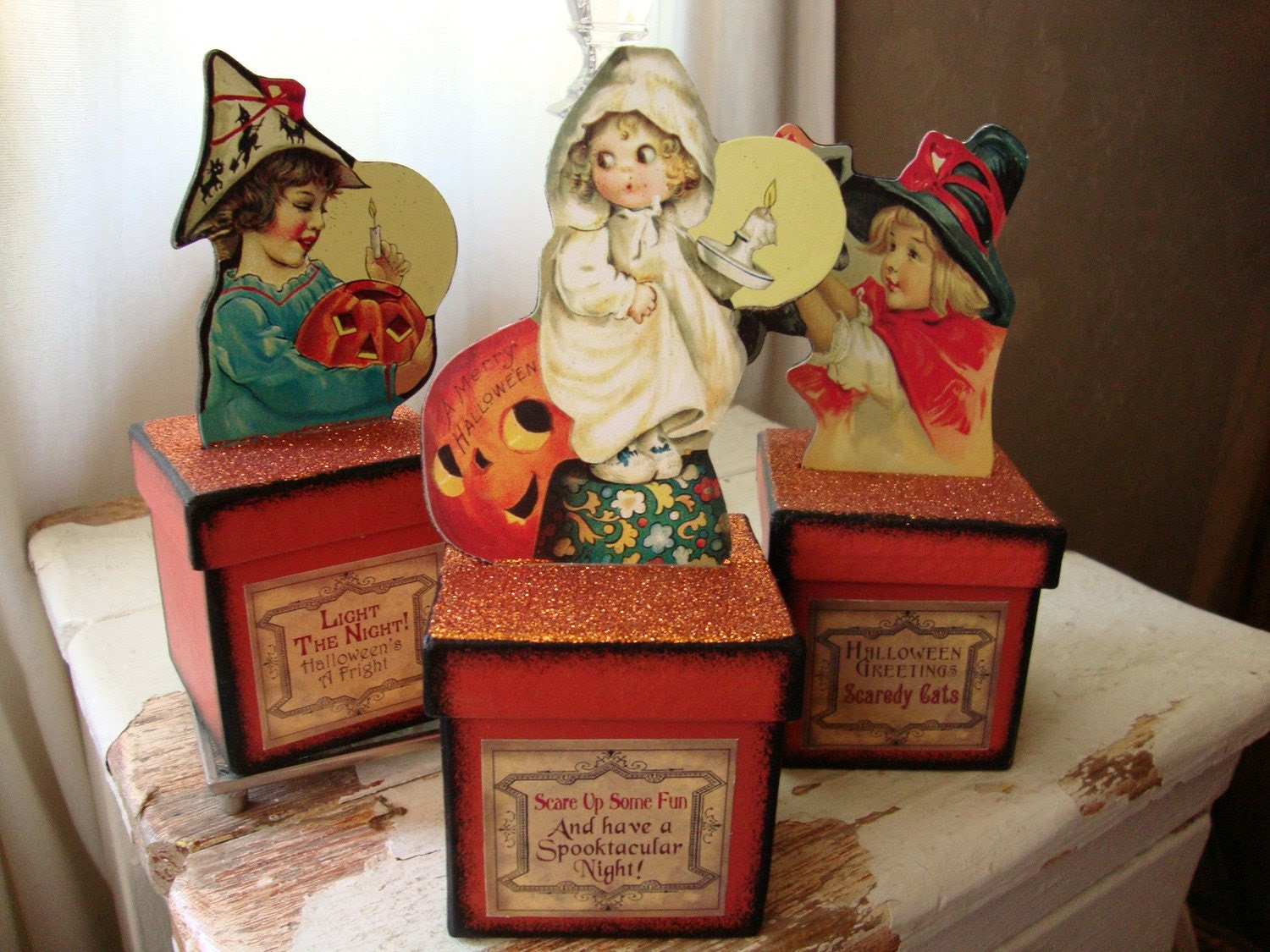 Vintage Style Halloween glittered wood Trick or Treat boxes...Trinket Box..Little girl and pumpkin