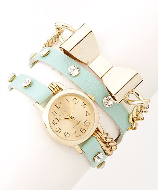 Mint & Gold Bow Wrap Watch