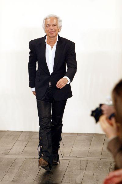 Designer Ralph Lauren walks down the runway at the Ralph Lauren fashion show.