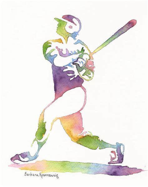 Baseball Player Sports Athlete Art Print Painting, Man Boy