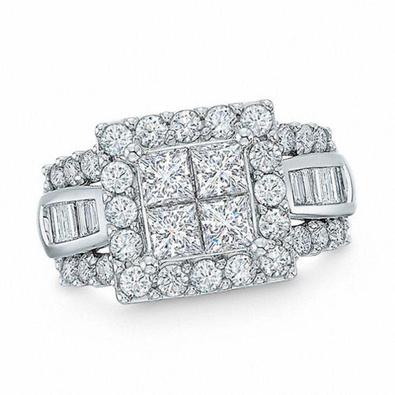 300 Ct Tw Quad Princess Cut Diamond Frame Ring In 14k White Gold