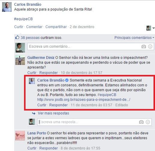 Vice-governador toma posição a favor do PSDB e também se declara a favor do impeachment de Dilma Rousseff