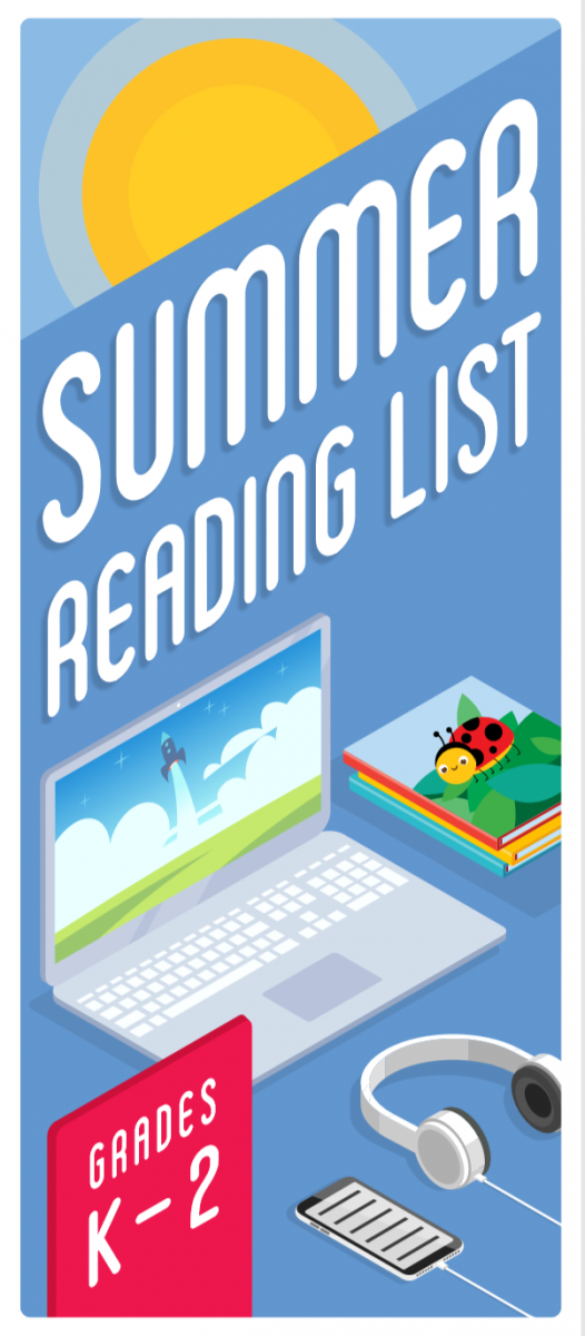 cover image summer reading lists Kindergarten - Grade 2 shows laptop displaying rocket image, stack of picture books, and phone with headphones