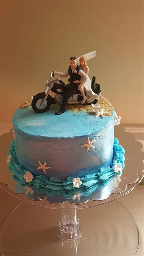 Beach and biker themed wedding cake. #motorcycle #ocean #