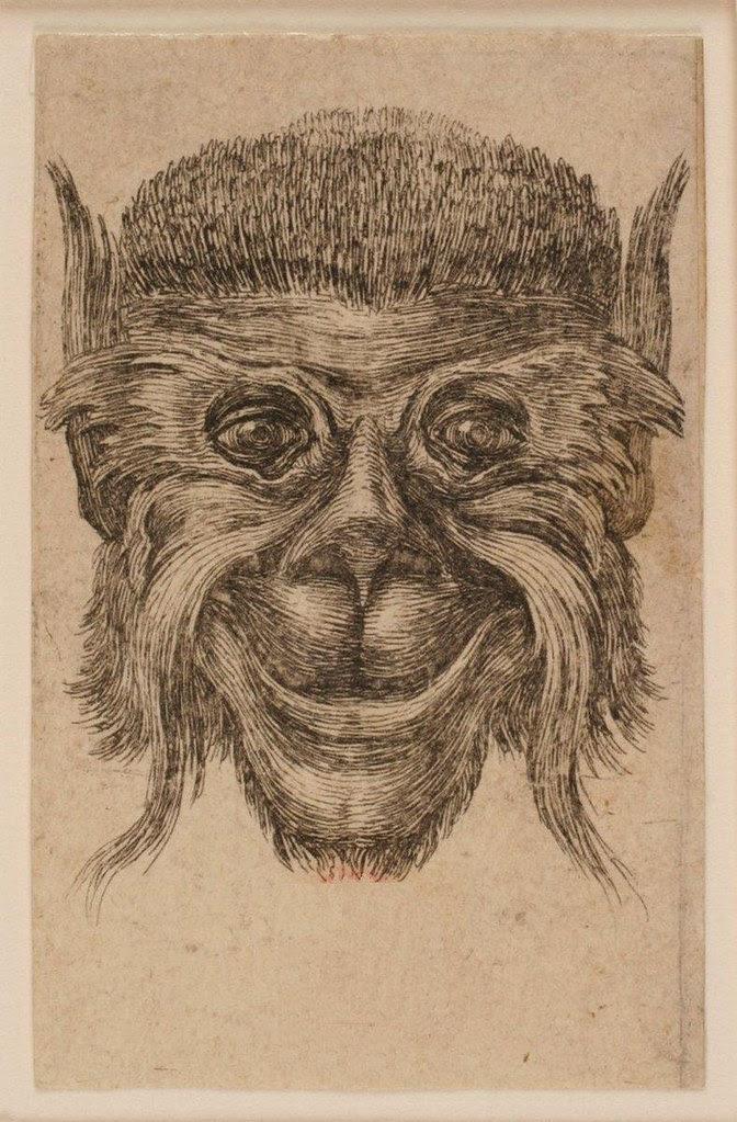 Tête de singe souriant