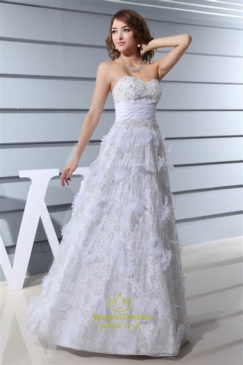 A Line Strapless Lace Wedding Dress,Sweetheart Lace
