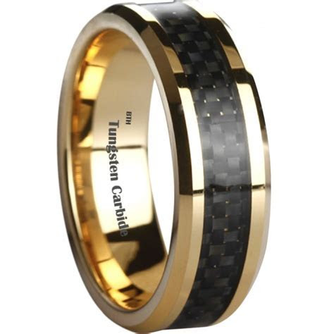 Black Carbon Inlay Gold Tone Tungsten Wedding Engagement