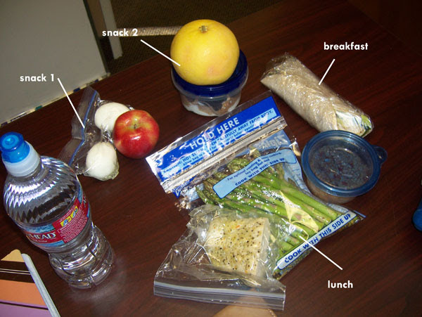Chelle's clean eating cooler for February 7, 2011. 1150 calories, before dinner.