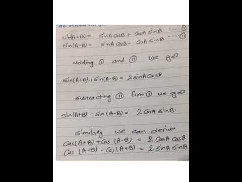 Class ten, transformation of trigonometric identities, derivation of formula