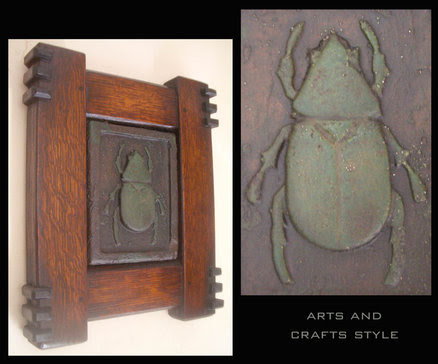 Green Scarab In Arts And Crafts Style Frame By Danum Style