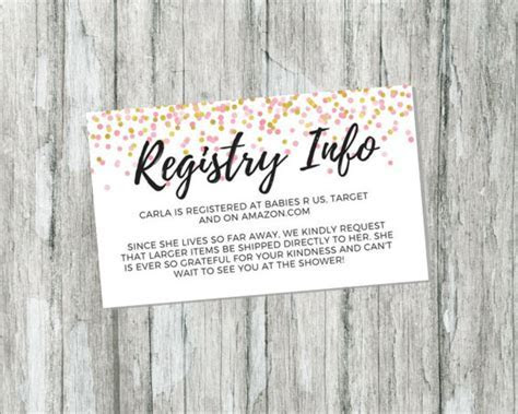 Shower Gift Registry Card Pink and Gold Baby Shower