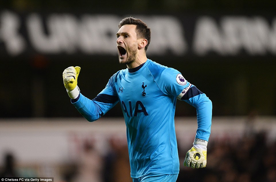 Tottenham captain Hugo Lloris, who was relatively quiet in the hosts' goal, enjoys the moment after Alli scored his second