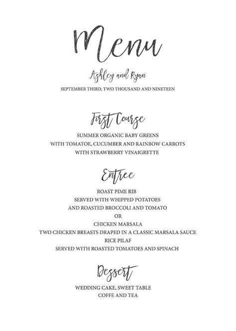 Print   Timeless and Simple Free Printable Wedding Menu