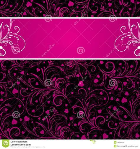 Black Background With Pink Decorative Ornaments Royalty