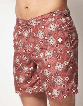 Image 1 ofASOS Swim Shorts With Aztec Bandana Print