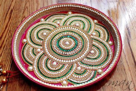 Pooja Thali Decorative Henna Mehndi Design Thali Festive