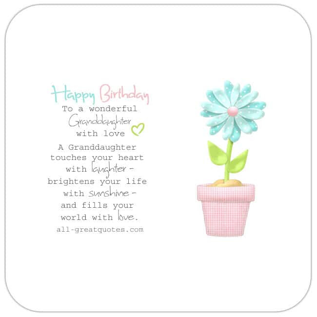 Happy Birthday Granddaughter | Poems Verses Wishes