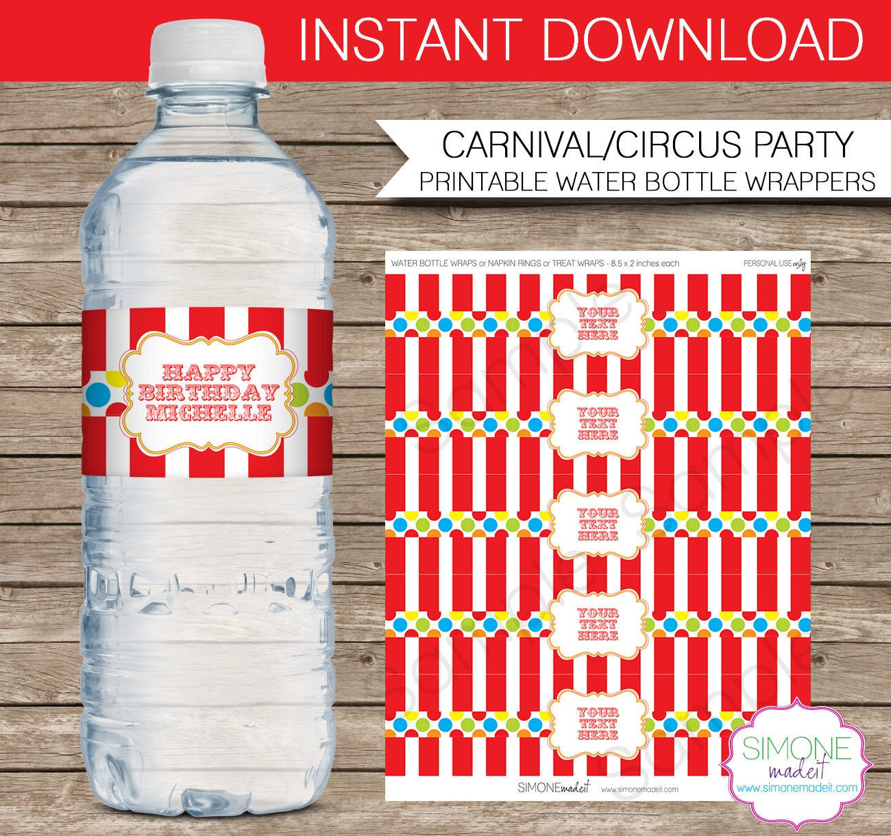 Carnival Water Bottle Labels or Wrappers Carnival or Circus by ...