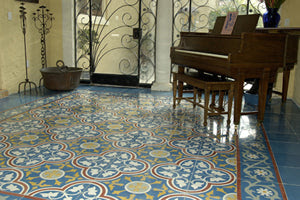 Cement Tile with Traditional Rug Design