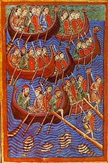 Daneses a punto de invadir Inglaterra<br /> Miscelánea sobre la vida de San Edmundo, siglo XII.