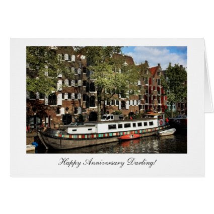 Amsterdam Canal Barge - Happy Anniversay Darling Cards
