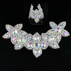 1 Pc Beads Rhinestone Applique Trim Sew Iron On Silver AB