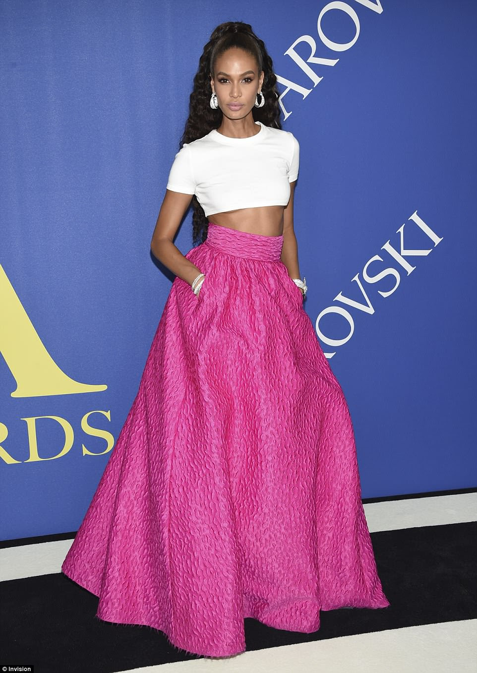 Top of the crops: Joan Smalls looked incredible as she flashed her toned tummy in a tiny white top and voluminous ballgown skirt