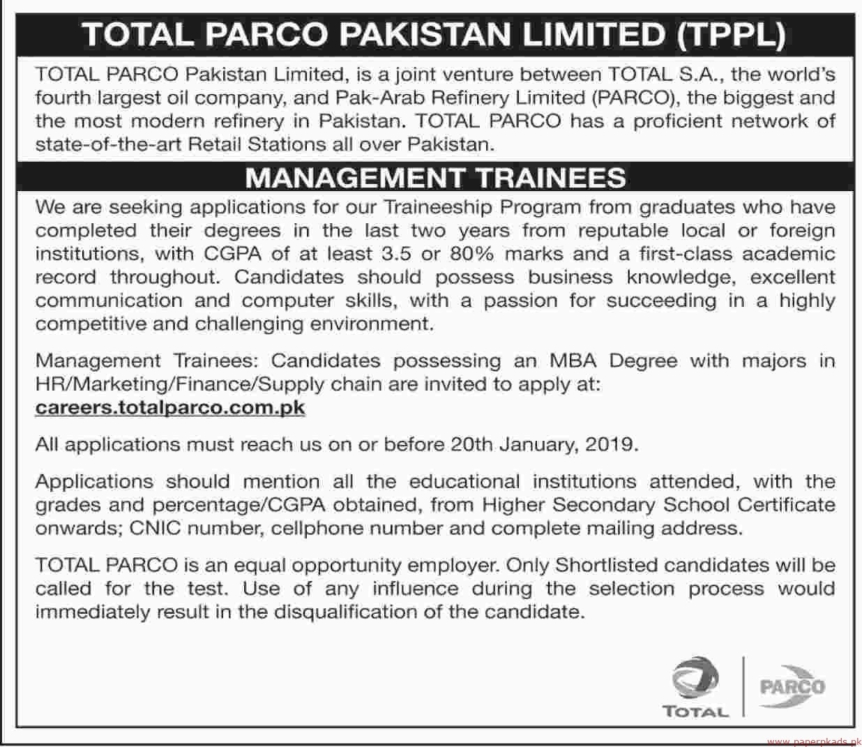 TOTAL PARCO Pakistan Limited Jobs 2019 Latest