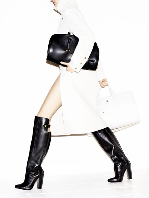 LE FASHION BLOG EDITORIALS MINIMAL FALL 2012 LOOKS BLACK WHITE RED CELINE BAGS HEELS TURTLE NECK PANTS JACKET ALEXANDER WANG KNEE HIGH RIDING BOOTS CROC CLUTCH TOTE BAGS FOLD OVER RED PANTS WHITE PUMPS WEDGES CLASSIC WATCH BEST BAGS FOR FALL BAG OF THE YEAR HARPERS BAZAAR