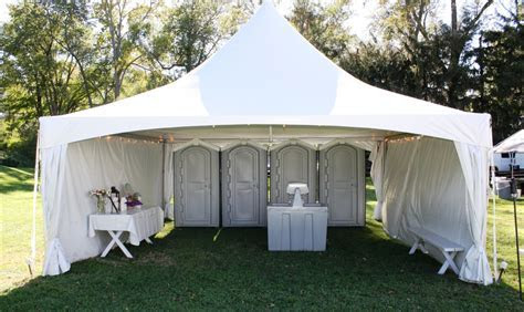 wedding rental bathroom tent   Jamestown Awning and
