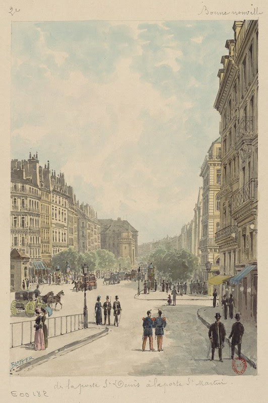 sketch of paris street scene 1880s incl. horses & carriages