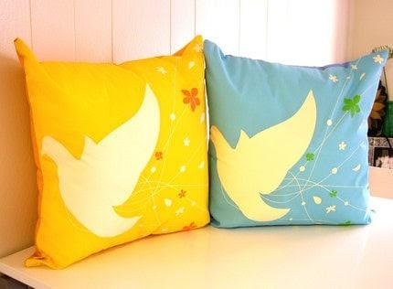 2 Bride Bird Pillows