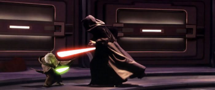 Darth Sidious charges at Yoda in the Senate chamber.