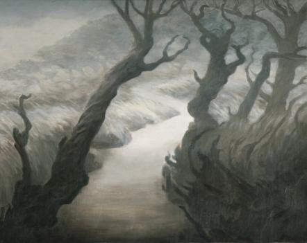 Katherine Kean, contemporary landscape painting, Point Lobos State Park, Monterey Cypress, trees, monochromatic