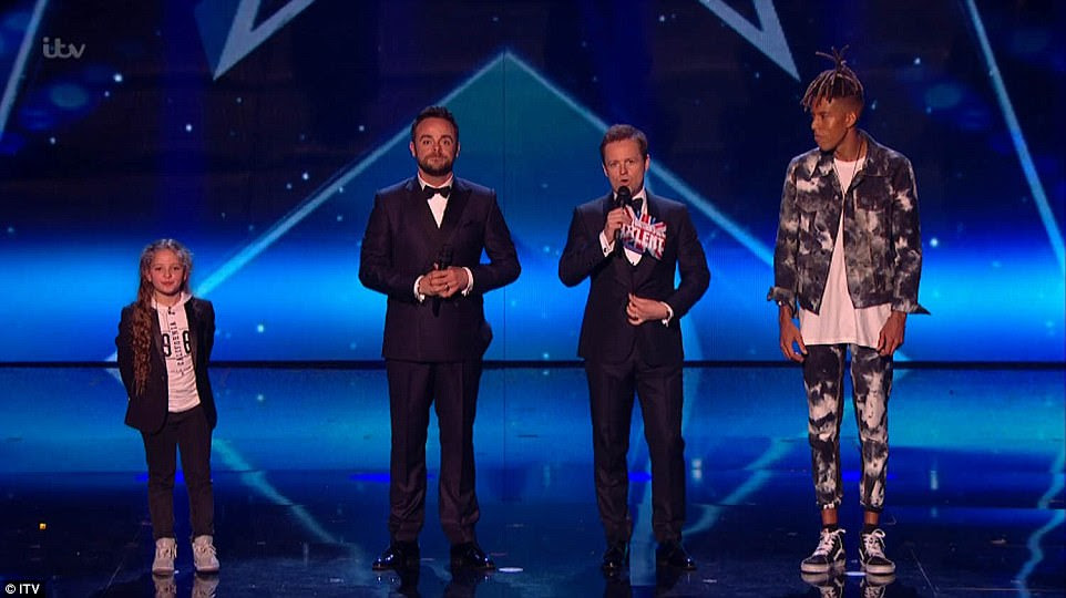 Final two! The two waited nervously for their fate as they Ant & Dec called out the winner