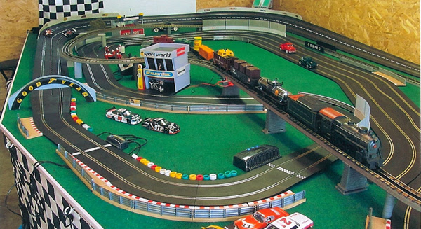 Having raced slot cars in the past and been part of a large slot car club in Florida that had owned its own track in a warehouse he decided to test out the cars and see how slot racing had changed.Being an avid F-1 fan and former race car driver he started running the idea through his head of setting up a track on the second floor of his barn.