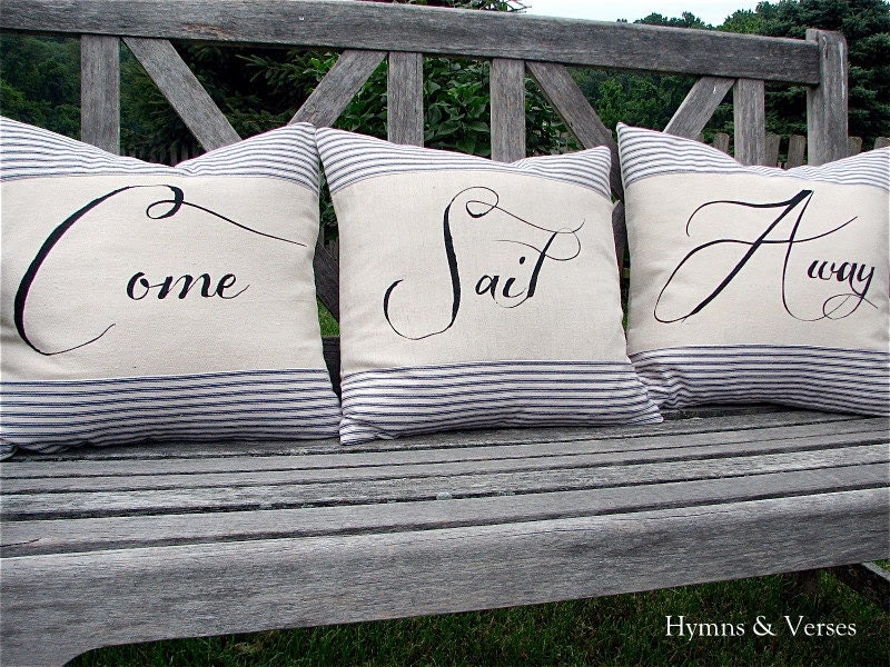 Come Sail Away Nautical Pillow Cover Set with by hymnsandverses