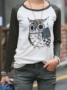 Grey Long Sleeve Owl Print T-Shirt