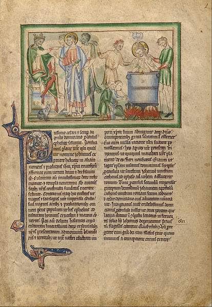 Emperor Domitian Speaking to Saint John the Evangelist and Saint John the Evangelist in a Vat of Boiling Oil.