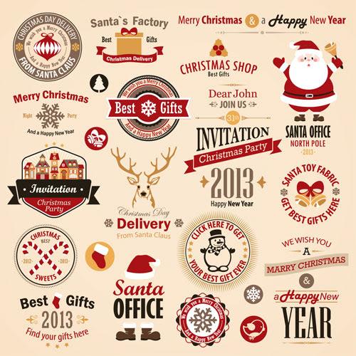 無料素材 クリスマスをテーマにしたワッペン風のロゴベクターイラスト