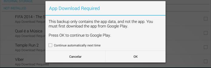 Marque quais aplicativos você deseja reinstalar (Foto: Reprodução/ Lucas Torres)