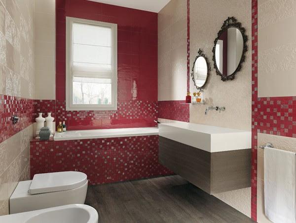 Red cream bathroom design