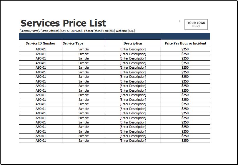 services price list