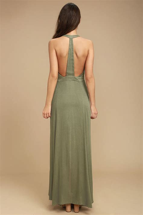 Boho Olive Green Dress   Halter Dress   Maxi Dress   $64.00